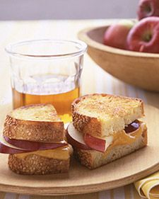 For a tasty twist on the standard grilled cheese, add slices of crisp fall apples. Choose a good eating apple, such as McIntosh, and cut it into thick slices. Layer the slices and cheddar cheese atop bread, such as sesame, buttered on the bottom; top with another piece of buttered bread. Cook, flipping halfway through, until the cheese has melted (about 7 minutes).