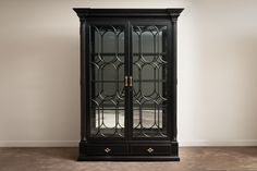 A10:494554 Black Painted Display Cabinet with column detail