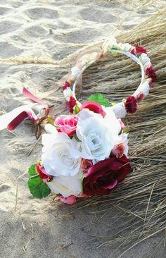 Corona de flores y ramo a conjunto