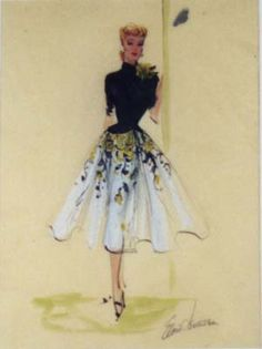 I Love Lucy Costume Drawing, Edith Head- The dress Lucy wore to the Brown Derby. Vintage Fashion Sketches, Fashion Illustration Vintage, Fashion Design Sketches, Fashion Illustrations, Vintage Dress Patterns, Vintage Dresses, Vintage Outfits, I Love Lucy Costume, Costume Design Sketch