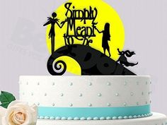 Jack and Sally Simply Meant To Be With Yellow Moon Wedding Cake Topper ** Remarkable product available now. : Handmade Gifts