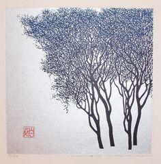 Haku Maki, Winter Tree, woodblock print 1972