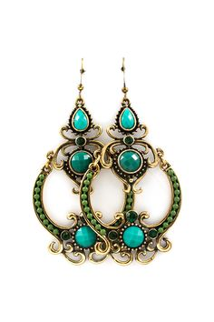 Antiqued Filigree Chandeliers finished with Emerald Crystals and striking Teal Hues. These are really pretty. #tiffany tiffany & co jewelry repair