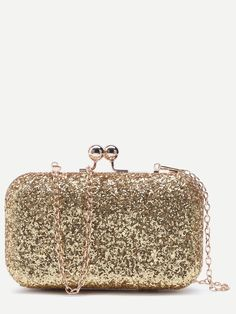 Shop Gold Glitter Evening Bag With Chain online. SheIn offers Gold Glitter  Evening Bag With 46fa3fd3341aa
