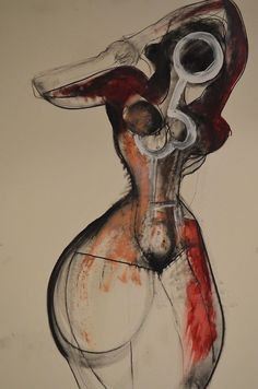 Drawing by Carmel Jenkin Standing Strong, charcoal and acrylic on paper, 81cm x 57cm