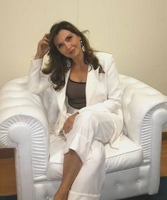 Maria Pia Calzone wearing Hebe White Suit