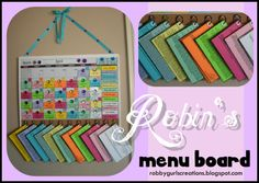 """""""MENU BOARD"""" A step-by-step tutorial on how to make an amazing Monthly Menu Board! The site INCLUDES RECIPES and a 4 step """"simple, but kind-of long process"""" on assembly. VERY crafty and creative! Agenda Planning, Planning Menu, Planning Calendar, Recipe Organization, Organization Hacks, Menu Boards, Menu Planners, So Little Time, Getting Organized"""