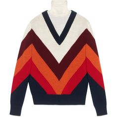 Gucci Chevron Intarsia Knit Top (€1.375) ❤ liked on Polyvore featuring tops, gucci, button top, red knit top, embellished knit tops and red chevron top