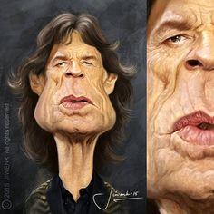 El cantante británico Mick Jagger, Lider de Rolling Stones, caricaturizado por el artista Jiwenk. ...