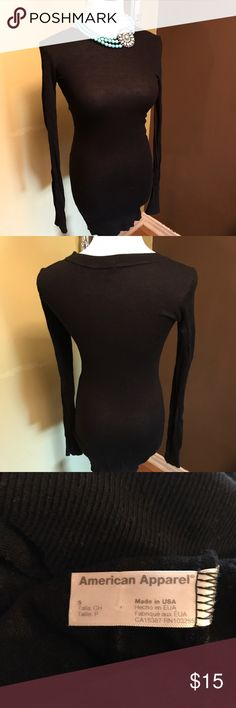 "American Apparel Black Bodycon Dress American Apparel black bodycon dress with long sleeves. Necklace is sold separately but can easily be bundled. Bust is a stretchy 28"", sleeves 26"" and length from shoulder to hem 34"". Need some black shoes to go with the dress? I have some in my closet. You can bundle that, too! Please let me know if you need more pix or have any questions. All of my items come from a smoke/pet free home. I'm ready to get rid of everything so please make me an offer. Or…"