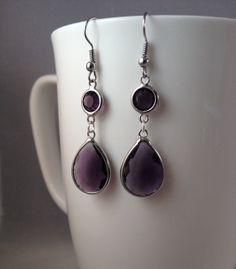 Purple glass gem drop dangle earrings by IvyLouJewelry on Etsy, $10.00