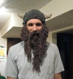 Reddit user ozzzzzz22 whipped up this viking hat complete with beard!