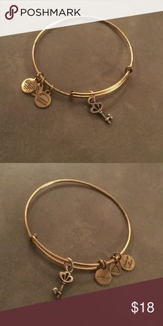 Alex and Ani Key Skeleton key with tiny stone.  Gently worn. Alex & Ani Jewelry Bracelets