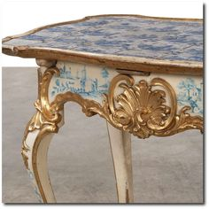 Rare Rococo tile table with Dutch tiles with decoration. The under part appears with the original decoration with houses. Woodcut and gilt. - Google Search