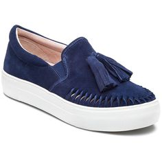 J/SLIDES Aztec Navy Suede Slip On (505 SAR) ❤ liked on Polyvore featuring shoes, loafers, navy suede, navy loafers, tassel loafers, navy blue shoes, platform loafers and suede shoes