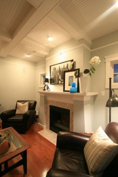 Idea for in between the ceiling beams in the living room