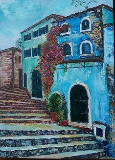 Greek village 50x70 cm 2016 Original acrylic painting on