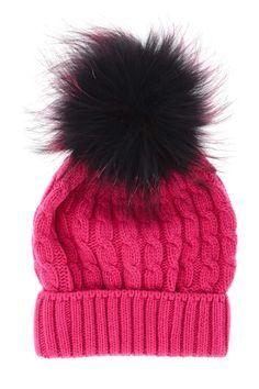 MARINI SILVANO  ESKIMO Fuchsia Knitted Fur Beanie