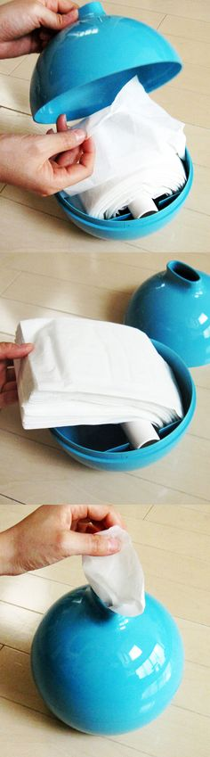 SO Tired of them ripping or grabbing multiple tissues using the dispensers they come in ... Tissue Pod in Blue | dotandbo.com