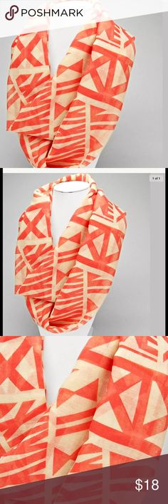 NEW Coral Aztec Tribal Print Infinity Scarf ❤️ This is a really nice item at an incredible price!  It has a super pretty colors and design.  So cute! It could be paired with a pair of leggings or jeans and your favorite boots!  - Infinity Scarf - Lighter in weight - Comfy, smooth material - Great for virtually every season neatandniceshop Accessories Scarves & Wraps