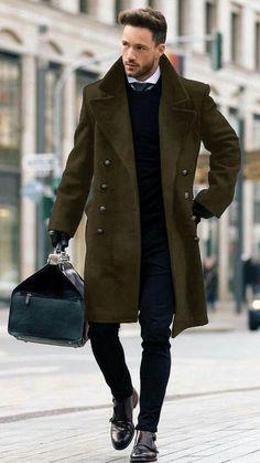 Fashion Lapel Plain Loose Thicken Classic Woolen Long Coat – joymanmall – Coat of arms Trench Coat Outfit, Trench Coat Men, Trench Jacket, Men Coat, Mens Long Coat, Pea Coat Men, Long Coats For Men, Long Coat Outfit, Long Wool Coat