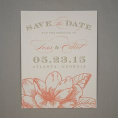 Magnolia Save the Date - Flower, Traditional, Classic, Marquee, Magnolia, Pink and Gold, Calligraphy, Vintage Glam