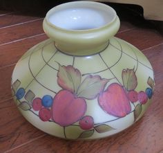 Vintage Glass Lamp Shade Hand Painted Apples Fruits