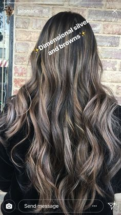 Brown hair balayage with highlights- dimensional silvers & Browns