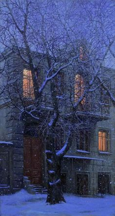Winter night - title of painting Snowy Evening by Alexei Butirskiy