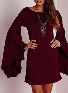 full sleeved dress in wine #fall
