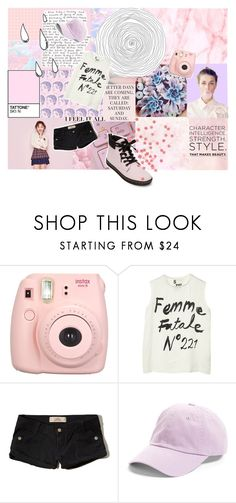 """""""Femme Fatale"""" by lafayette-the-baguette ❤ liked on Polyvore featuring Old Navy, GET LOST, Fujifilm, 5 Preview, Hollister Co., American Needle, Dr. Martens, Pink and pastel"""