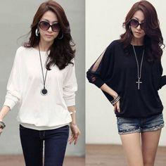 Trendy Long Sleeve Loose T-Shirt Batwing Tops Blouses Black