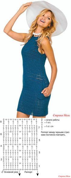 . Стильная классика. Синее платье с карманами. - Все в ажуре... (вязание крючком) - Страна Мам