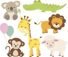 Vector illustration of cute animal set including koala crocodile giraffe monkey lion and sheep - buy this vector on Shutterstock find other images Animal Set, Young Animal, Jungle Animals, Cute Baby Animals, Wild Animals, Farm Animals, Colorful Animals, Cute Animal Videos, Free Illustrations