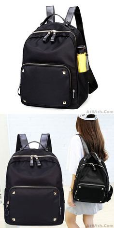 Simple but strong backpack ! Fashion Black Rose Simple Nylon Splicing PU Rivets Waterproof School Backpack #backpack #bag #college #school #rivet