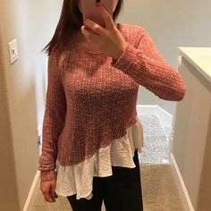✨SALE✨ Anthropologie Thin Asymmetrical Sweater Worn a few times but in great condition. I really adore this top, makes you feel so cute when you're wearing it. Size small, true to size. Offers welcome. Anthropologie Sweaters Crew & Scoop Necks