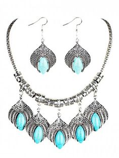 Vintage Boho Style Artificial Turquoise Embellished Necklace Earrings Set