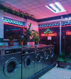 Neon lights laundromat at night sci fi aesthetic Neon Aesthetic, Urban Aesthetic, Night Aesthetic, Diner Aesthetic, Violet Aesthetic, Devil Aesthetic, Gothic Aesthetic, Music Aesthetic, Aesthetic Beauty