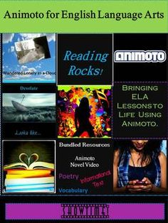 Newly updated to include more resources!   Reading Rocks!  Using Animoto in the ELA classroom.  Projects include Animoto Based on a Novel, Illustrating Word Meaning through Vocabulary Music Videos, Poetry with a Pulse, and Motivating Reluctant Learners:  Using Animoto with Nonfiction and Informational Text.  Everything you need to provide students with a dynamic, interactive assessment option and learning activity.  Make your ELA  Curriculum Come Alive with Animoto Music Video Projects!