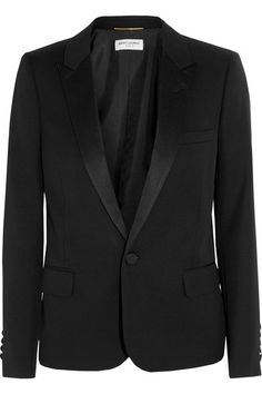 Black wool-piqué Button fastening at front 100% wool; trim: 100% polyester; lining: 100% silk Dry clean Made in Italy
