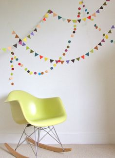 RESERVED - custom order for Laura - triangle circus bunting - warm colours