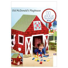 Sewing Pattern for Barn Playhouse, Kwik Sew # Boy/Girl Play Tent, Old McDonald's Playhouse Barn, Ellie Mae Design, Barn Playhouse, Card Table Playhouse, Playhouse Ideas, Indoor Playhouse, Kwik Sew Patterns, Mccalls Patterns, Kids Patterns, Cubby Houses, Play Houses