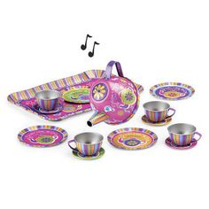 "I'm a Little Musical Tea Set -  Young Explorers... Charming musical tea set made of unbreakable tin.  The wind-up teapot plays "" I'm a Little Teapot"" when tipped."