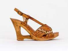1970s Wooden High Heel Wedge Sandals  by QualiCraft