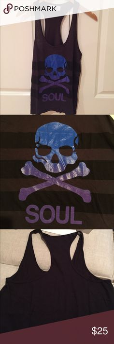SoulCycle Skull Tank - Small Cool Racerback tank with Skull and Stripes on the front.  Size Small.  Imprint is in good condition, no cracking. SoulCycle Tops Tank Tops