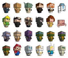 Dozens and Dozens of Free Printable Papercraft Toys {cubeecraft.com} LEGO Star Wars, Teenage Mutant Ninja Turtles, Adventure Time, video game characters, cartoon characters, and more!