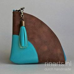 Zipper pouch QUARTER L in brown waxed leather and aqua leather