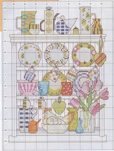 Cross stitch pattern, kitchen, cup, plate.