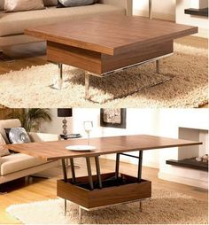A dining table can eat up a lot of real estate in a small apartment. So can a coffee table for that matter. This convertible coffee table from Dwell is two tables in one. Coffee table by day, dining t (Cool Furniture Small Spaces) Multipurpose Furniture, Smart Furniture, Space Saving Furniture, Furniture For Small Spaces, Dining Furniture, Furniture Design, Furniture Ideas, Furniture Makeover, Furniture Outlet
