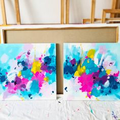 Blue Abstract Painting, Colorful Abstract Art, Hand Painting Art, Abstract Paintings, Small Paintings, Original Paintings, Splatter Art, Large Wall Art, Types Of Art